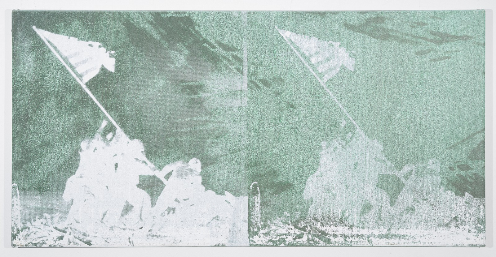 Bruce High Quality Foundation ,   Untitled (Double Iwo Jima)  ,  2012     Silkscreen & acrylic paint on canvas ,  18 x 36 in.