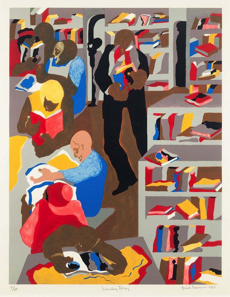 Jacob Lawrence ,   Schomburg Library  ,  1987     Lithograph ,  33 x 23 1/2 in.