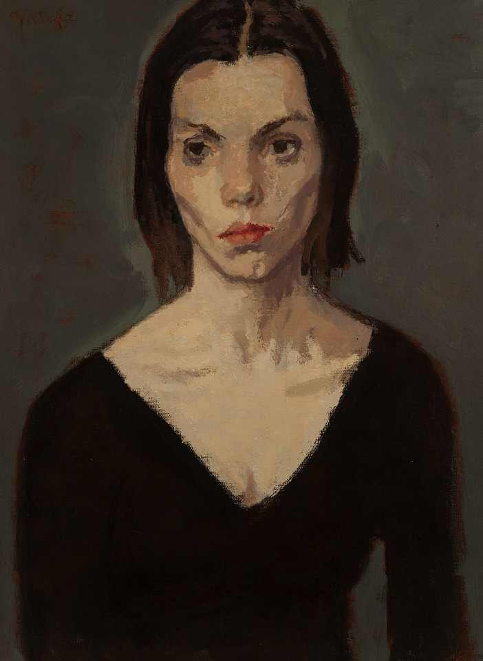 Moses Soyer ,   Phoebe in Black Leotard      Oil on canvas ,  24 x 19 in.