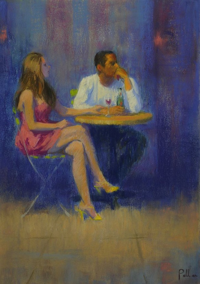 Joseph Peller ,   Cafe Couple      Pastel/Monotype on paper ,  19 1/2 x 14 in.