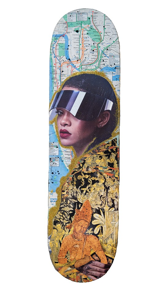 P.H.A.S.E. 2 ,   Rihanna  ,  2015     Mixed media, collage on vintage subway map on wood skate deck ,  8 1/4 x 32 1/2 in.