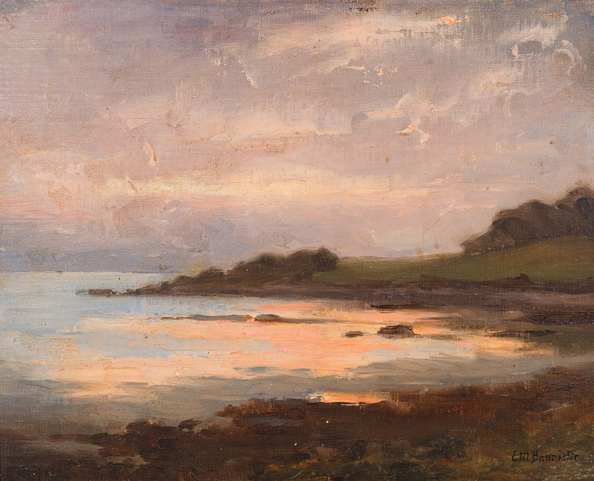 E.M. Bannister ,   Bay at Sunset      Oil on canvas ,  10 1/2 x 13 in.