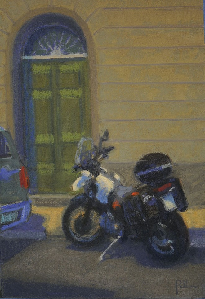 Joseph Peller ,   Motorcycle, Tuscany  ,  2019     Gouache and pastel on paper ,  16 x 11 in.