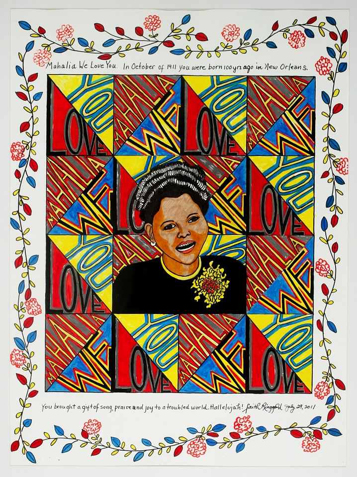 Faith Ringgold ,   Mahalia: We Love You  ,  2012     Silkscreen ,  30 x 22 in.